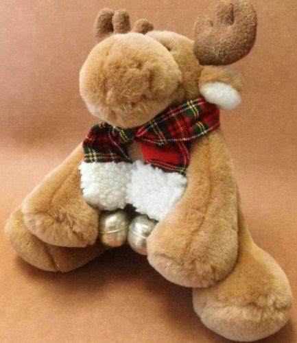 Moose Stuffed Animal Plush Toy w Silver Jingle Bell Scarf