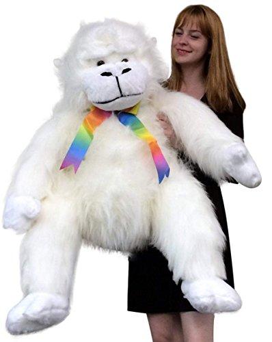American Made Giant Stuffed White Gorilla Monkey Soft Adorable Big Plush Animal