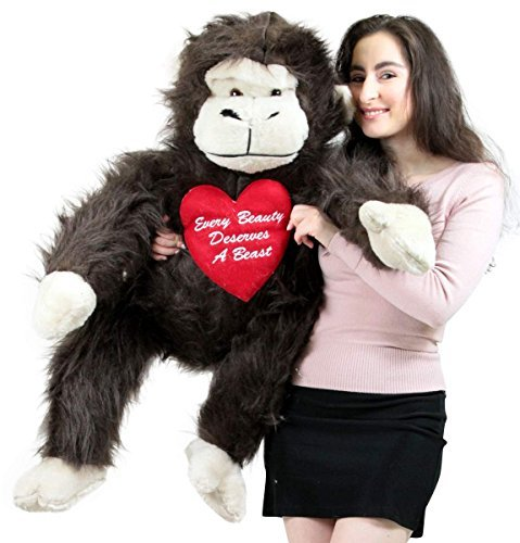 American Made Romantic Giant Stuffed Monkey 40 inch Soft Holds Embroidered Heart Every Beauty Deserves a Beast by BigPlush