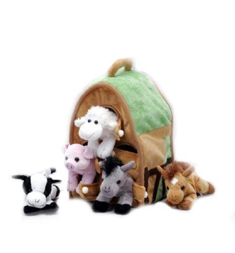 Plush Farm House with Animals- Five 5 Stuffed Farm Animals Horse Lamb Cow Pig Grey Horse in Play Farm House