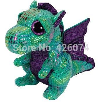 New Original TY Beanie Boos Big Eyed Stuffed Animals Cinder Green Dragon Plush Toys For Children Gifts Kids Toys 15CM
