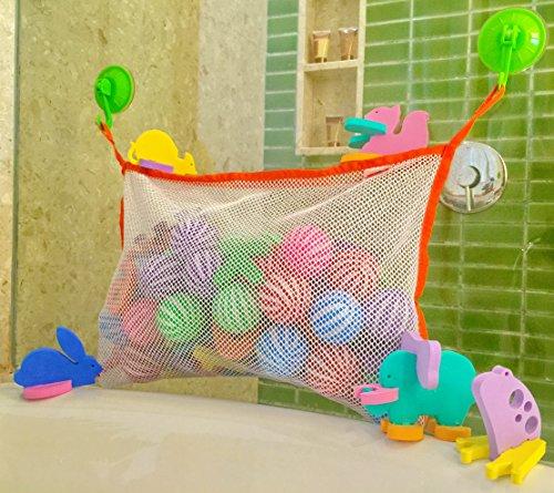 P&F Baby Bath Tub Toys Organizer Storage Bag Jumbo Size185x13 inches Bonus 5 Animal Puzzle Foam Promote Creativity Learning Tool 2 Extra Strong XL Size Suction Cups 2 S Shape Plastic Hanging Hooks