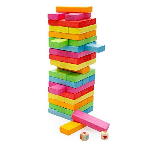 Xin store 54 Pcs Classic Colored Wooden Tumbling Tower Blocks