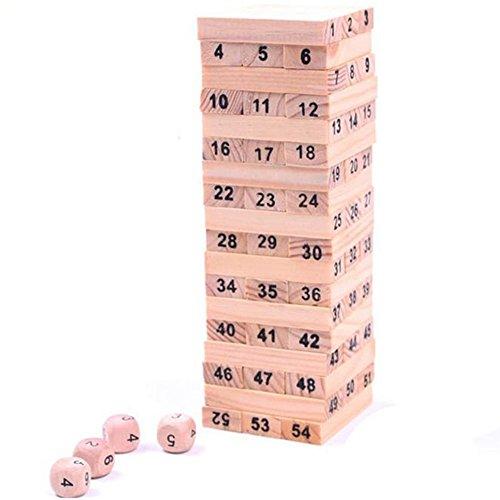 SMTSMT 54PCS Wooden Column Building Blocks Game Children Education Toy