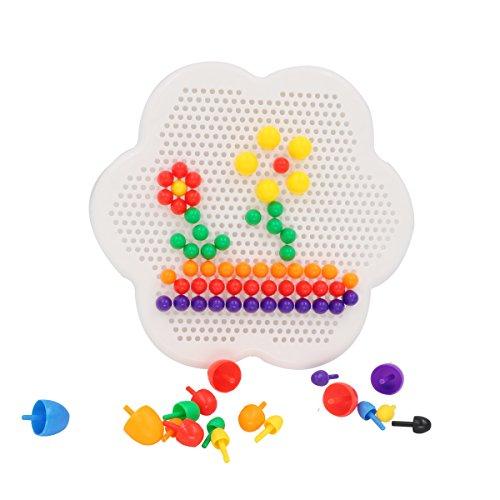 Tresbro 350 Pcs Christmas Gift Creative Mosaic Jigsaw Puzzle Educational Toy Mushroom Nails Diy Science kids Educational Building Block Game for KidsToddersBabiesBoysGirls