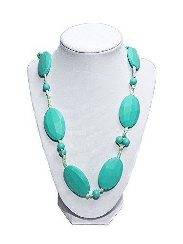 JOGGAN Silicone Teething Necklace- Baby Safe Mum Fashion To Wear 100 BPA Free - Knotted Silk Rope--14 Inch Drop Turquoise