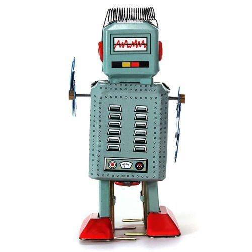 Vintage Wind Up Tin Toy Clockwork Spring Robot Toy With Key