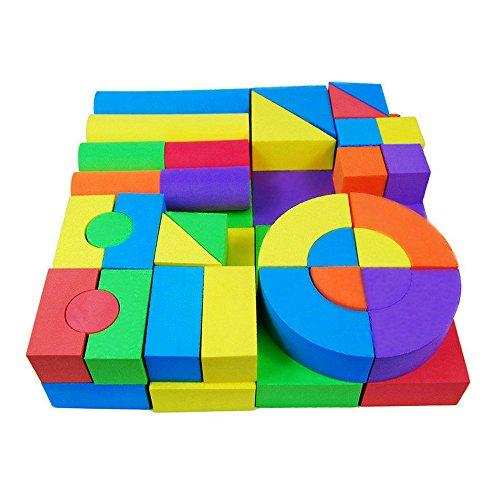 FJTANG 50 Pcs Baby Blocks Creative Educational EVA Jumbo Building Blocks Baby Games For Kids