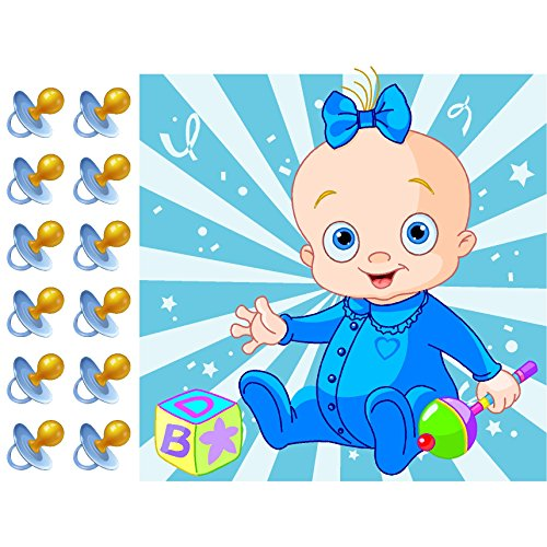 Pin the Pacifier on the Baby Boy Shower Game Party Accessory