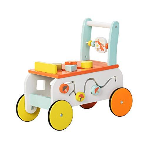 Labebe New Design Baby Walker with Wheel 3-in-1 Orange Wooden Activity Walker for Baby 1-3 Years Baby Push Walker Girl&BoyWooden Push ToyWalker Toy InfantBaby WagonLearn WalkerPush Cart Toy