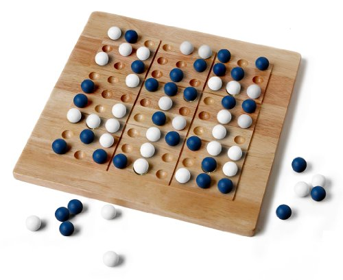 Tic-Tac-Ku Solid Wood Game BlueWhite by Mad Cave Bird Games