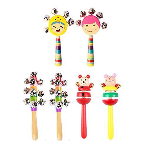 6 Pcs Vivid Color Rainbow Handle Wooden Bells Jingle Stick Shaker Rattle Baby Kids Children Musical Toys