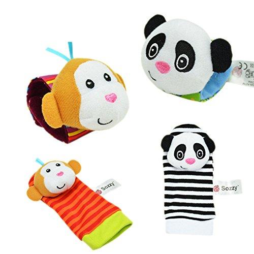 Baby Wrist Rattles Foot Socks Developmental Toys Finders Animal Panda 1 Set 4pc