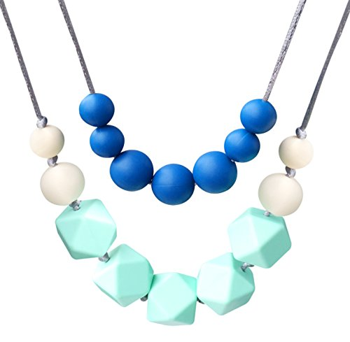 Bassion Baby Toy Silicone Teething Necklace Nursing Necklace for Mom to Wear 4-in-1 Chewiness Baby Toys Teething Toys Teething Beads - Safety Knotted Silk Rope BPA Free and FDA Approved