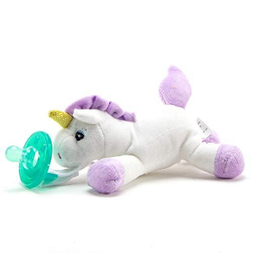 Unicorn Plush Stuffed Animal Detachable Pacifier Baby Gift Set Paci Clip Binky Holder Gift for Baby Girls