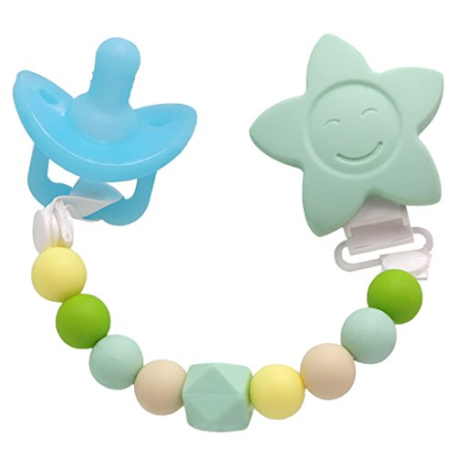 AILAMS Baby Pacifier Clips with Teething Pacifier - Food Grade Silicone Dummy Soother Chain with Teether Beads and Giant Star Blue