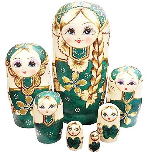 FDorla 7pcs Handmade Russian Nesting Doll Basswood Matryoshka Doll Wooden Toy Gift for Girls kids Decoration Green
