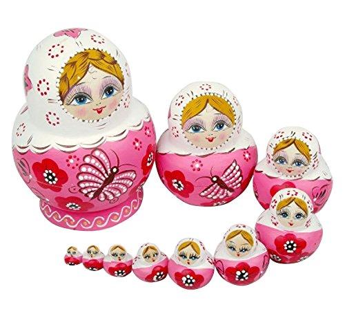Mintbon 10pcs Handmade Wooden Russian Nesting Dolls Gift Matreshka Pink