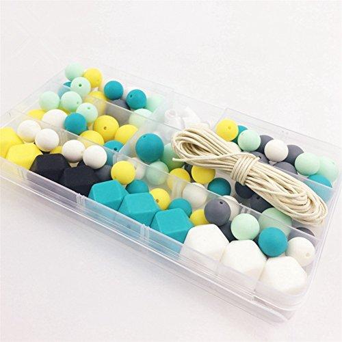 Silicone Wooden Teething Beads Nursing Necklace DIY Silicone Teething Kit Geometric Hexagon Silicone Wood Beads Teething Necklace Baby Teether Toys