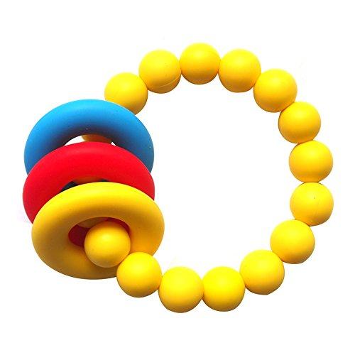 Yellow Chewing Bracelet BPA Free Teether BabyToddler Silicone Teething Bracelet Mom Bracelet Collection Teething Chewable Beads Bracelet
