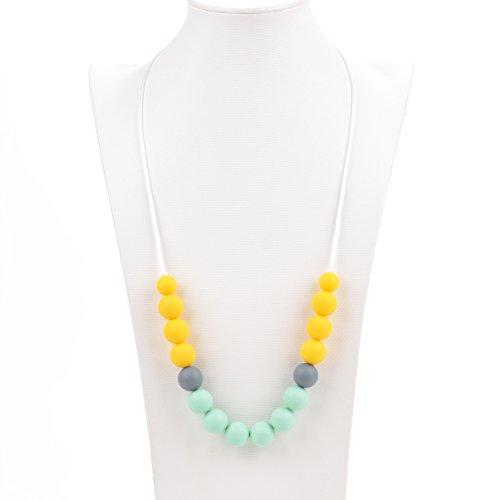 Aishine Teether -Natural Pain Reduce Rainbow Silicone Teething Pendant Nursing Breastfeeding Necklace for Mom Baby-Educational Organic Food Grade Jewelry  Bead Yellow
