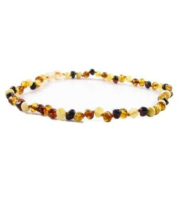 Genuine Baltic Amber Baby Teething Necklace Anti-Inflammatory Reduce Drooling Teething Pain Relief - Multi 10in by The Amber Monkey