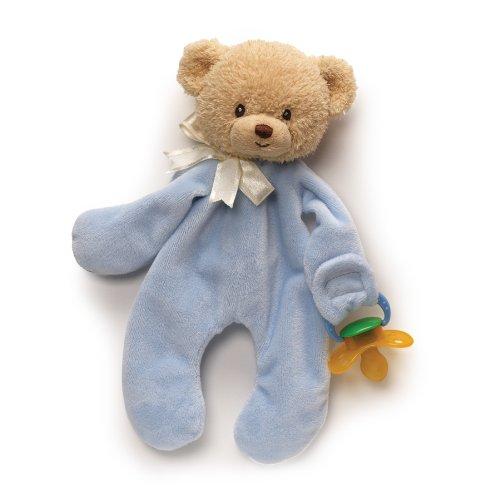 GUND Plush Blue Teddi with Pacifier Clip