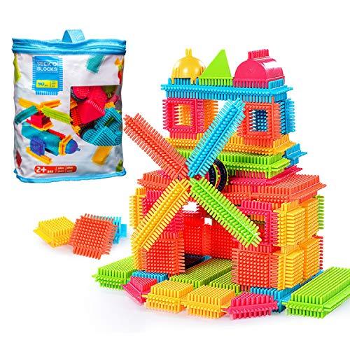 GODR7OY Creativity Building Toys Dexterity Fine Motricity Big Bristle Shape 3D Building Blocks Tiles Construction Toy Set with Bag for Boys Girls 3 Years