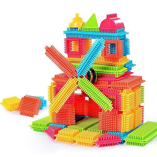 HstoreBuilding Blocks 150pcs Bristle Shape 3D Building Blocks Tiles Construction Playboards Toys Toddlers Kids Gifts Brain Game US Stock