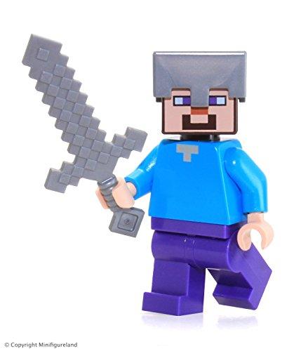 LEGO Minecraft Minifigure Steve Minifig with Iron Helmet  Sword