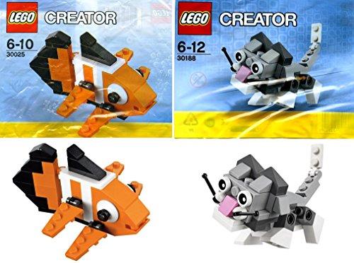 LEGO Creator Mini Pets Collection 2-Set Bundle Cute Kitten 30188 Clown Fish 30025 bagged