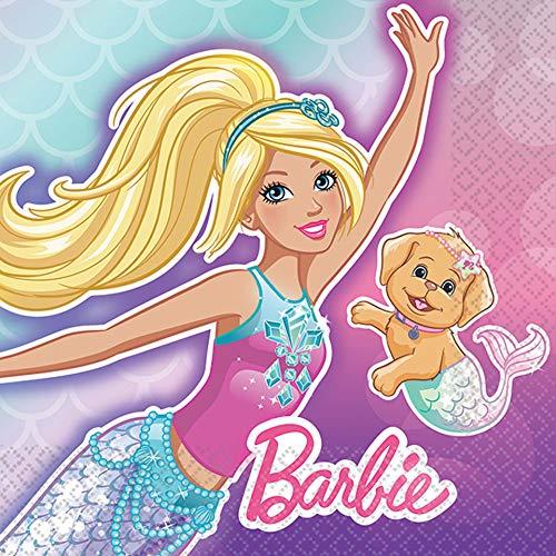 Barbie Mermaid Purple and Teal Beverage Party Napkins 5 x 5 16 Ct