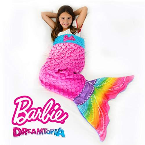 Blankie Tails Barbie Dreamtopia Rainbow Sparkles Mermaid Tail Blanket Soft-Double Sided Minky Fleece for Kids- Climb Inside This Cozy Machine Washable Pink Barbie Mermaid Blanket