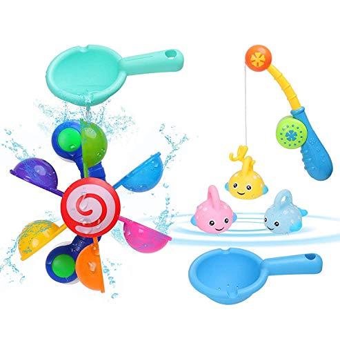 BBLIKE Baby Bath Time Fun Toys Kids Bath Toys Tub Windmill Waterwheel  2 Pcs Spoon  4 Pcs Bath Fishing Toy Set for BathtubSwimming Pool for Toddlers Boys Girls 1 2 3 4 5 Year Old