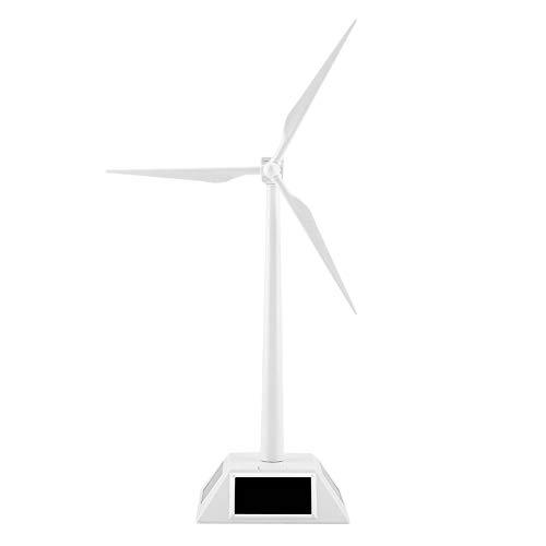 Zerodis Solar Powered 3D Windmill Assembled Model Craft Kids Children Education Learning Fun Toy Gift ABS Plastics Wind Turbine White for Home Desktop Decor Garden Ornament