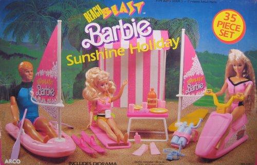 Barbie Beach Blast Sunshine Holiday 35 Piece Playset w Diorama 1988 Arco Toys Mattel