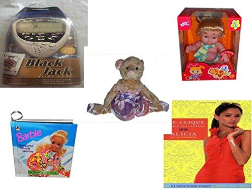 Girls Gift Bundle - Ages 6-12 5 Piece - Black Jack Casino Handheld Game - Ming Ming Mon Cherie Scented Baby Doll 8 - Grand Jete Pose Ballerina Bear Purple Tutu Plush 12 - Barbie Wonderful Winte
