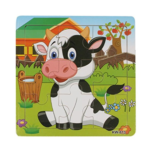Hot Sale Canserin Wooden Dairy Cow Jigsaw Toys For Kids Education And Learning Puzzles Toys