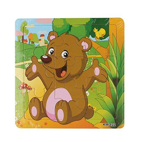 Learning PuzzlesMalltop Cute Cartoon Bear Wooden Jigsaw Toys For Kids Education 58x58