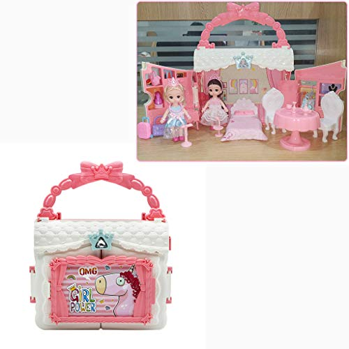 Fold and Go Dollhouse Mosunx Kids Portable Handbag Princess DIY Doll Home with 2 Dolls Chairs Bathtubs Cabinets Beds Great Gift for Girls 3 4 5 6 Year Olds Pink 3 Years Old