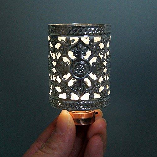 BESTLEE Dollhouse Miniature Silver Retro Hollow LED Light Desk Lamp