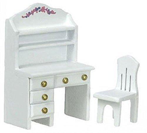 Dollhouse DESK WCHAIR WHITE 12 SCALE