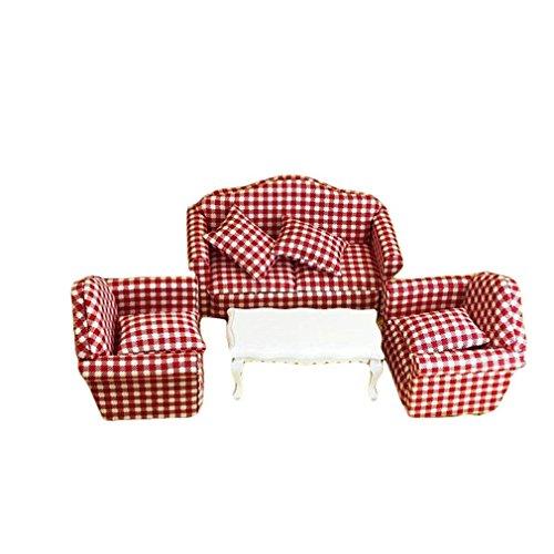 Remeehi DIY Dollhouse Furniture Sofa and Tea Table Set