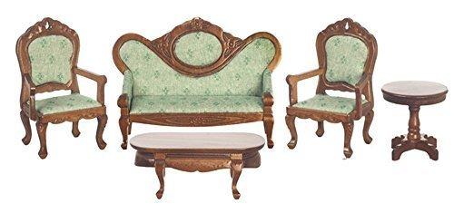 Melody Jane Dollhouse Victorian Living Room Furniture Set Walnut Green