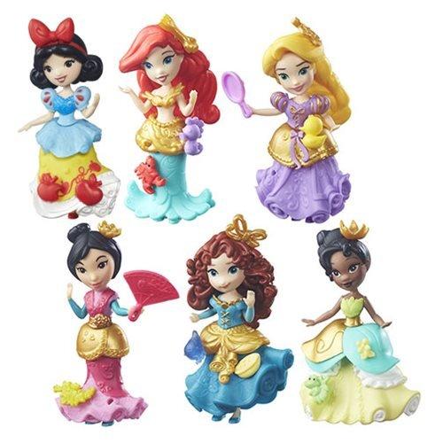 Set of 6 Disney Princess Little Kingdom Classic Dolls - Ariel Snow White Rapunzel Merida Tiana Mulan