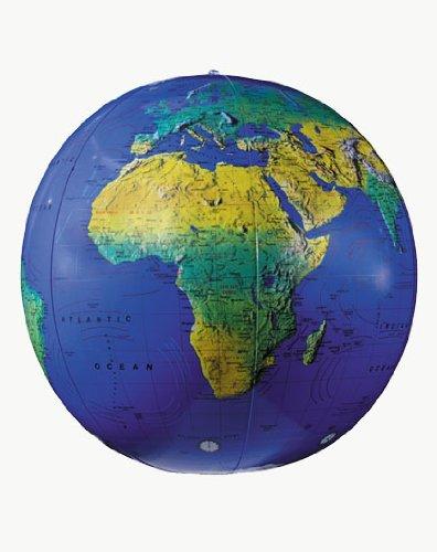 Replogle Globes Inflatable Topographical Globe Dark Blue Ocean 12-Inch Diameter
