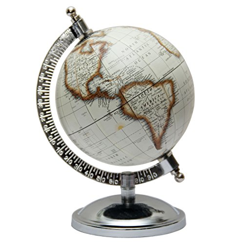 Globes Off-White Rotating 5 Inches Diameter World Map Earth Desktop Office Home Decorative Tabletop Globe