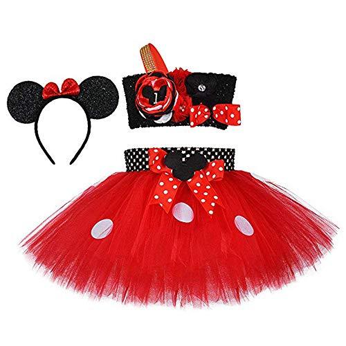 Birthday Mouse Costume for Baby Girls Halloween Party Princess Polka Dot Tutu Dress Set Red 6th Birthday