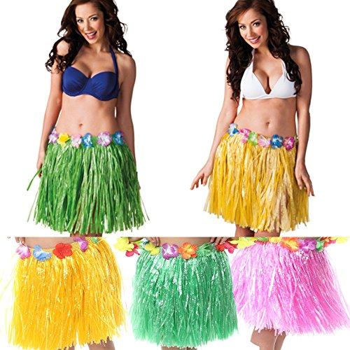 Hula Skirt 3 Pack - Hawaiian Luau Hibiscus Green Silk Faux Flowers Hula Grass Skirt for Costume Party Birthdays Celebration by NimNik