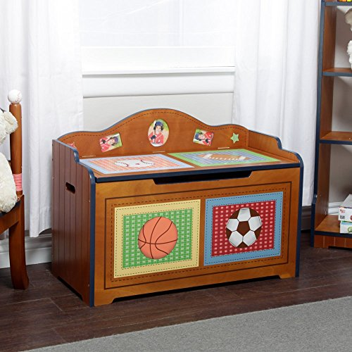 Fantasy Fields - Lil Sports Fan Thematic Kids Wooden Toy Chest with Safety Hinges  Imagination Inspiring Hand Crafted Hand Painted Details   Non-Toxic Lead Free Water-based Paint